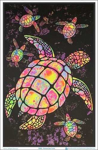 Posters Psychedelic Painted Turtles - Black Light Poster 100075