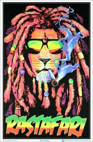 Posters Rastafarian Lion - Black Light Poster 007162