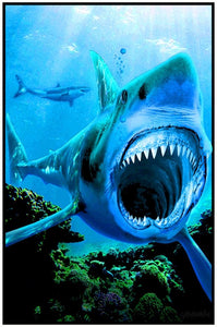 Shark Attack - Black Light Poster