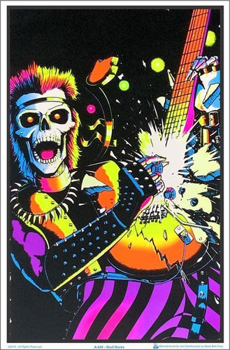 Posters Skull Rock Guitarist - Black Light Poster 100175