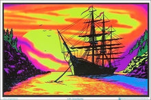 Load image into Gallery viewer, Posters Sunset Bay Ship - Black Light Poster 100174