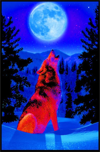 Posters Wolf Howling at the Moon - Black Light Poster