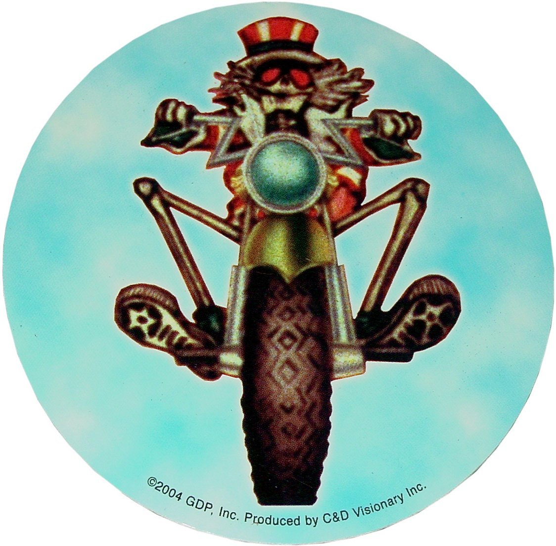 Stickers Grateful Dead - Uncle Sam Skeleton on a Motorcycle - Round Sticker 004671