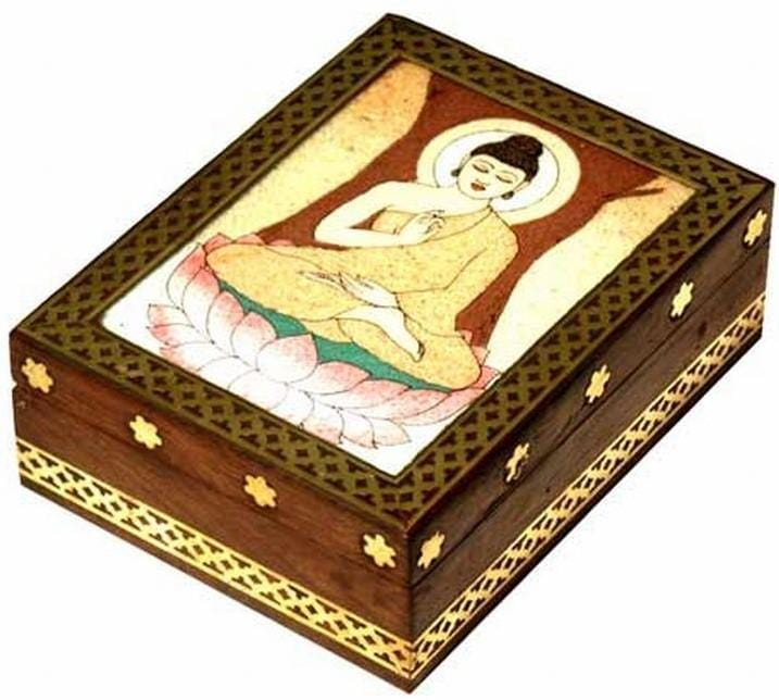 Storage Buddha Stone Inlay - Wooden Storage Box 100234