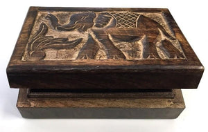 Storage Carved Elephant - Wooden Storage Box 100230