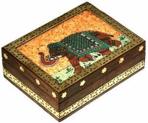 Storage Elephant Stone Inlay - Wooden Storage Box 100233