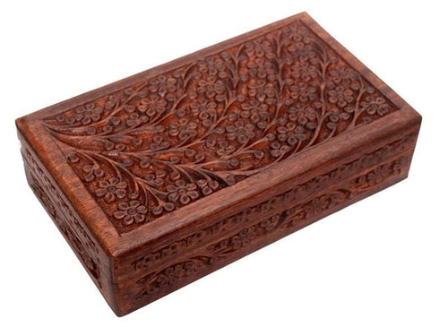 Storage Hand Carved Floral - Wooden Storage Box 100231