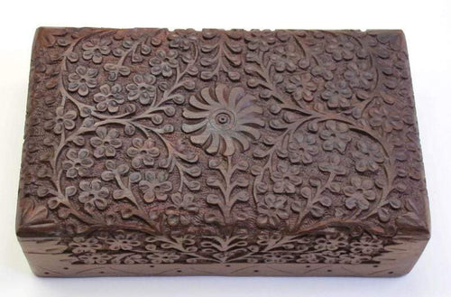 Storage Kashmiri Carved Flowers - Wooden Storage Box 100062