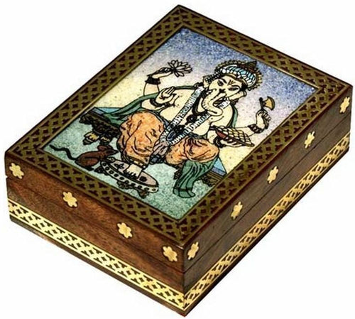Storage Sacred Ganesha Stone Inlay - Wooden Storage Box 100235