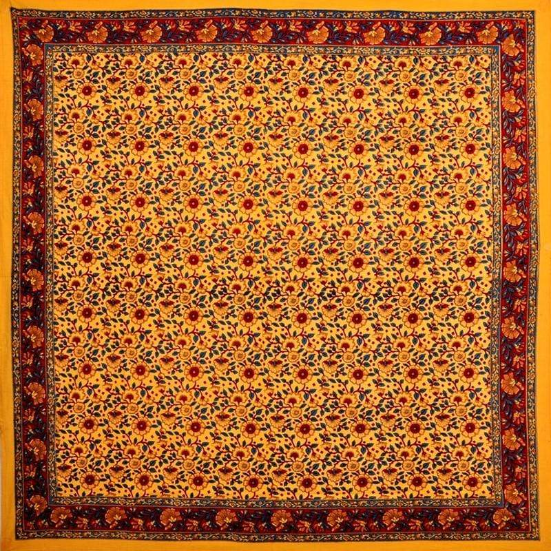 Tablecloths Flower Handblock - Red and Gold - Square Tablecloth 009882