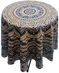 Tablecloths Mandala - Blue and Beige - Round Tablecloth 011719