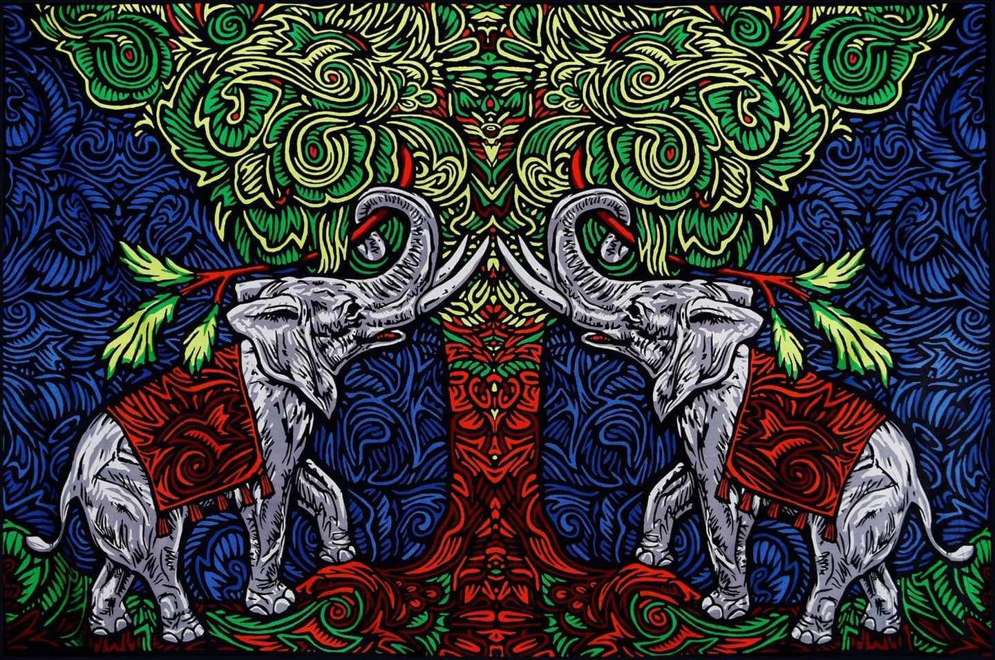 Tapestries 3D - Elephant Tree - Tapestry 008884