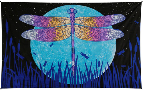 Tapestries 3D - Glow in the Dark - Dragonfly Moon - Tapestry 100194