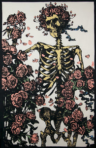 Tapestries 3D - Grateful Dead - Faded Skeleton with Roses - Tapestry 100614