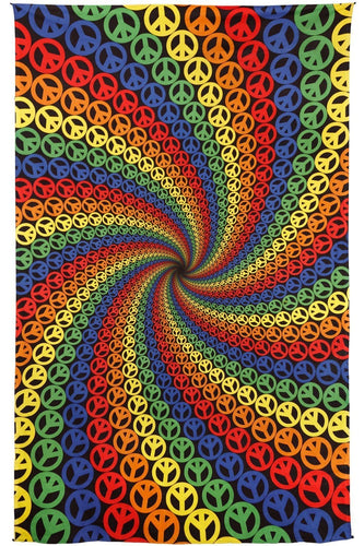 Tapestries 3D - Peace Sign Spiral - Tapestry 012211