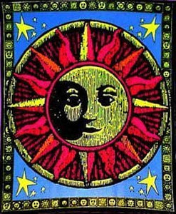 Tapestries Aztec Sun - Black Light Tapestry 001030