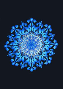 Tapestries Blooming Blue Flame Mandala - Tapestry 100679