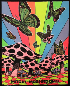 Tapestries Butterflies and Mushrooms - Black Light Tapestry 000794