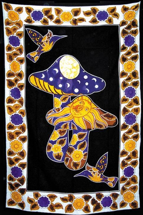 Tapestries Celestial Mushroom and Hummingbirds - Tapestry 000812