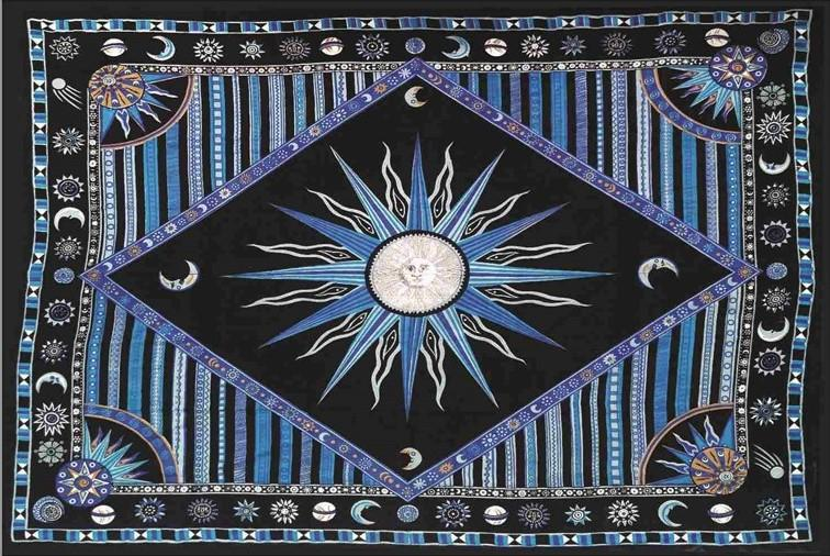 Tapestries Celestial Sun - Blue and Turquoise - Tapestry