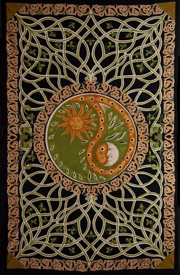 Tapestries Celtic Celestial Yin-Yang - Green - Tapestry 100276