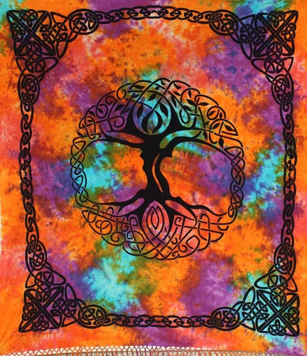 Tapestries Celtic Knot Tree with Fringe - Tie-Dye - Tapestry 100083