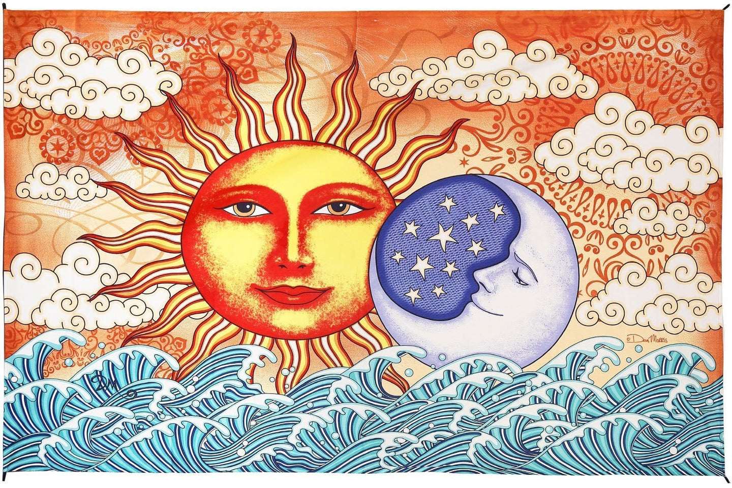 Tapestries Dan Morris - Celestial Sun and Moon Ocean - Tapestry 013546