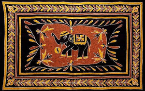 Tapestries Elephant Batik - Black and Gold - Tapestry ta-128