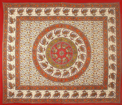 Tapestries Elephant Mandala - Burgundy - Tapestry 007428