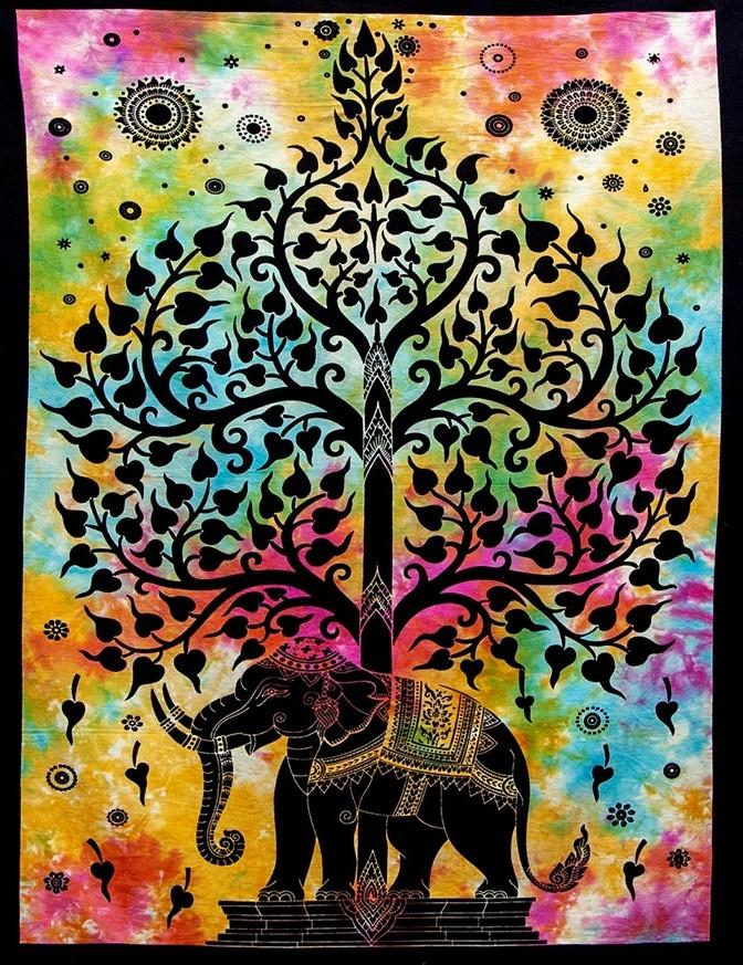 Tapestries Elephant Tree Silhouette - Tie-Dye - Tapestry 100624