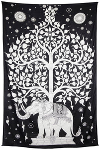 Tapestries Elephant Tree - White and Black - Tapestry 010306