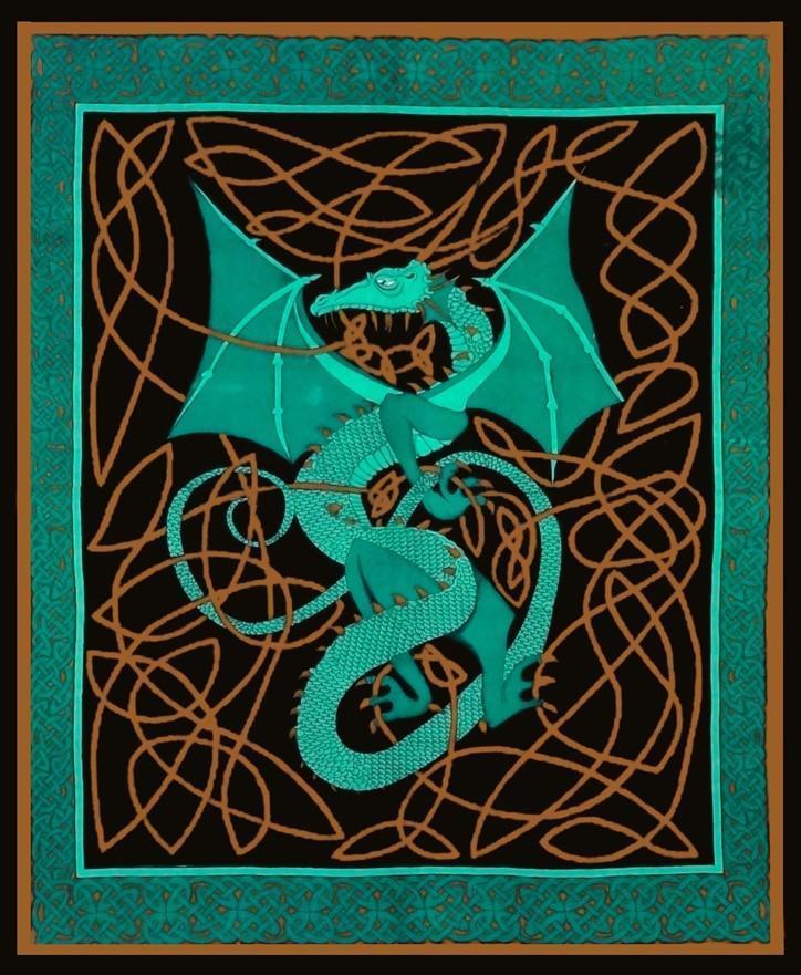 Tapestries English Dragon - Green - Tapestry 006082