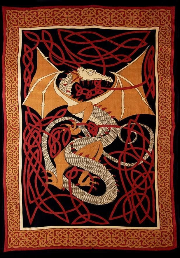 Tapestries English Dragon - Red - Tapestry 001220