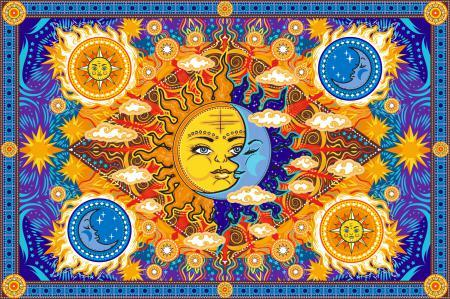 Tapestries Fire Sun and Moon - Tapestry 100872