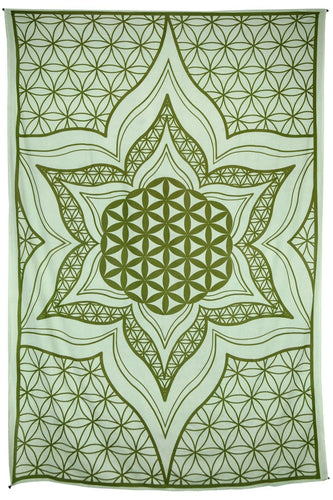 Tapestries Flower of Life - Green - Tapestry 100104