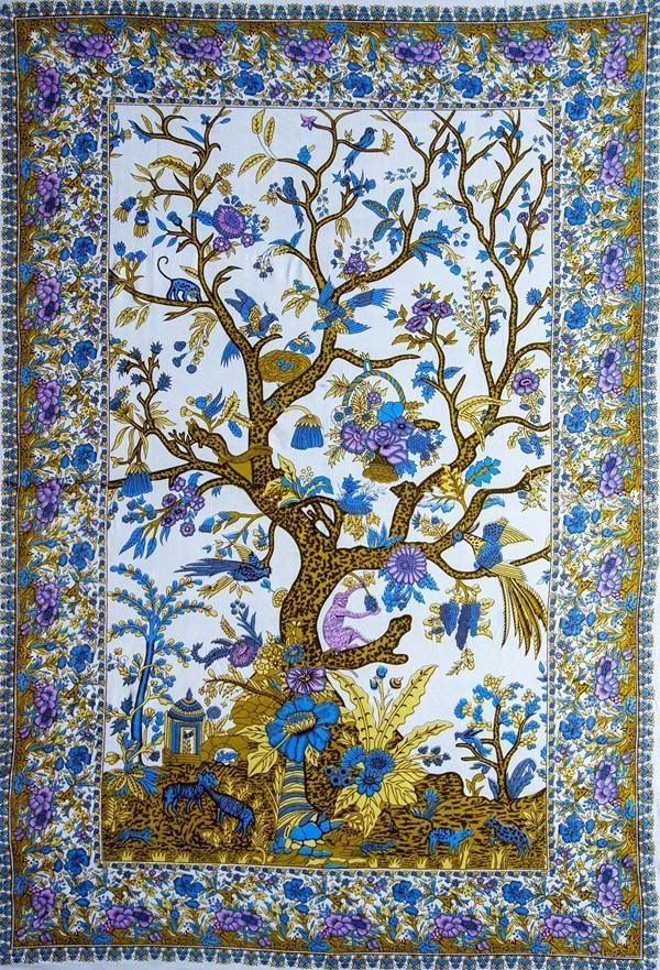Tapestries Flower Tree - Blue - Tapestry 100666