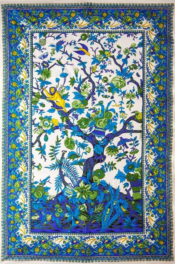 Tapestries Flowering Tree of Life - Blue and Yellow - Tapestry 100647