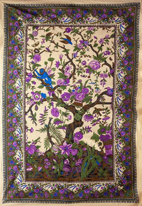 Tapestries Flowering Tree of Life - Natural and Purple - Tapestry 100643