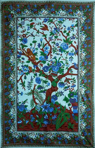 Tapestries Flowering Tree of Life - White and Blue - Tapestry 100649