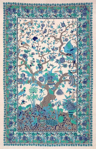 Tapestries Flowering Trees and Birds - Blue and Turquoise - Tapestry 100660