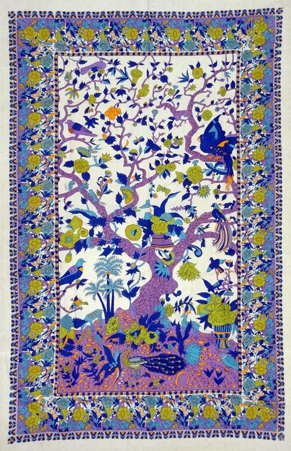 Tapestries Flowering Trees and Birds - Purple and Green - Tapestry 100659