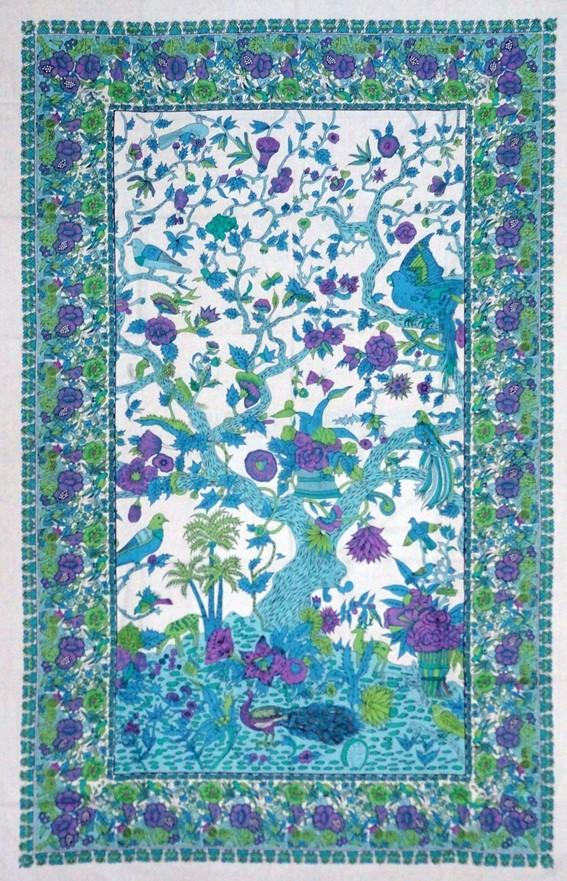 Tapestries Flowering Trees and Birds - Purple and Turquoise - Tapestry 100657