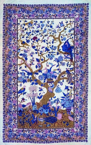 Tapestries Flowering Trees and Birds - White and Purple - Tapestry 100658