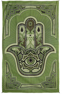 Tapestries Hamsa Hand of Fatima - Green - Tapestry 100020