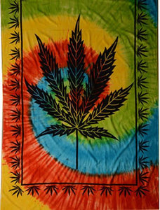 Tapestries Hemp Leaf Spiral - Tie-Dye - Tapestry 010658
