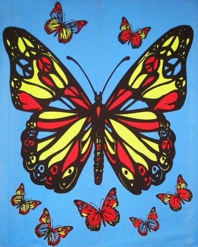 Tapestries Hippie Butterfly - Black Light Tapestry 001034
