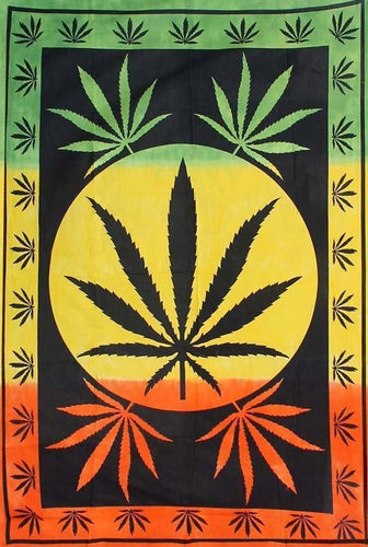 Tapestries Large Hemp Leaf - Rasta - Tapestry 006807