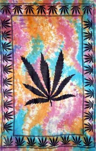 Tapestries Large Hemp Leaf - Tie-Dye - Tapestry 007215