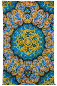 Tapestries Mandala Burst - Blue and Yellow - Tapestry 100014
