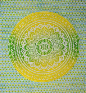 Tapestries Mandala - Yellow and Green Tie-Dye - Tapestry 100628